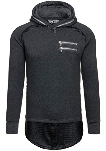 BOLF Herren Kapuzenpullover Sweatshirt Hoodie Sweatjacke Streetwear Mix 1A1 Anthrazit_200