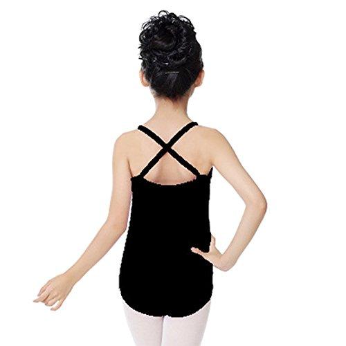 BOZEVON Ragazza Vestito Leotard Balletto in Cotone Tinta Unita con Spaghetti Elastiche Cinghie di Spalla per Danza Ginnastica Body,Nero