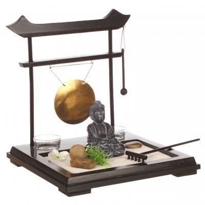 ZEN Garden Set: Buddha on wooden tray with gong, 2 candleholders, flower and plant, sand and pebbles etc...