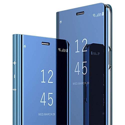JAWSEU Kompatibel mit Galaxy S6 Edge Hülle Handyhülle Mirror Case Spiegel PU Leder Hülle Brieftasche Flip Case Wallet Tasche Cover Magnet Kunstleder Tasche Etui Lederhülle Schutzhülle,Blau