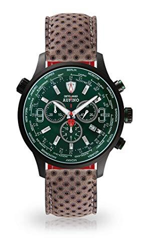 DETOMASO AURINO Racing Montre Hommes Chronographe Chronographe analogique Quartz Gris foncé Bracelet Cuir Vert Cadran Vert DT1061-N-846