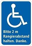 Aufkleber / Warnaufkleber Rollstuhlfahrer 2m Abstand halten KFZ 11,5 x 8 cm
