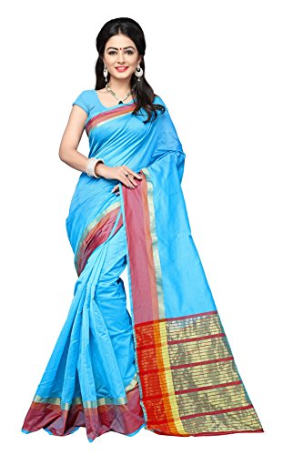 Indian Fashionista Women's Uppada Silk Saree With Blouse Piece(Blue ,Free Size)