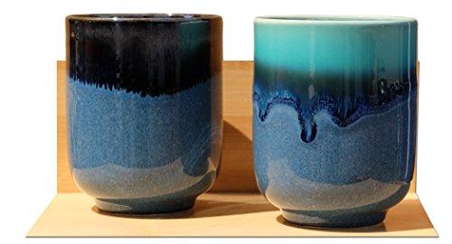 Azul Laguna tazas de té japonés de cerámica X 2