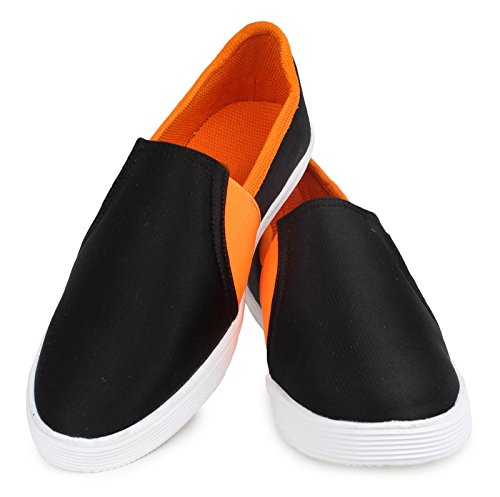 Portez des chaussures loafer partie de toile des hommes glissent sur les chaussures d'entraînement Noir et orange