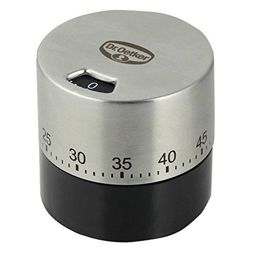 Dr. Oetker Mechanischer Kurzzeitmesser (bis 60 min) Edelstahl, Küchenwecker, Funktioniert ganz ohne...