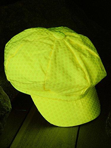 Schwarzlicht Mütze mit Pailletten Party Gelb