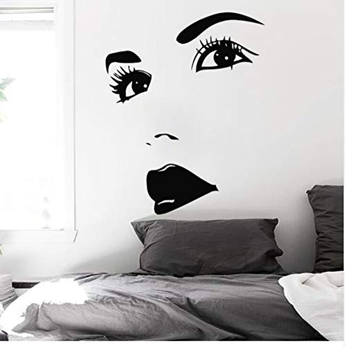 Augen Tattoos Beautifyl Gesicht Lip Girl Wandaufkleber Ausgangsdekor Mädchen Make-Up Vinyl Wand Schönheitssalon Tapete 45X57Cm