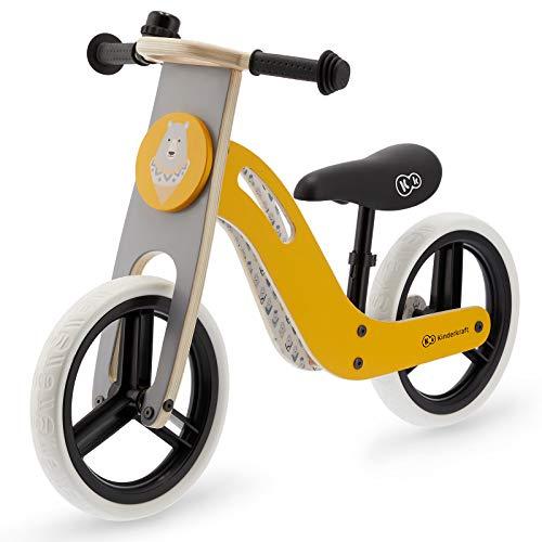 Kinderkraft UNIQ Draisienne en Bois Eco, Enfant, Vélo Sans Pédales, Jaune Miel