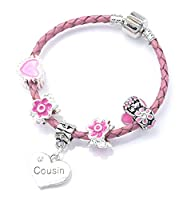 'Cousin' Pink Leather Charm Bracelet for Girls Presented in High Quality Gift Pouch (17)