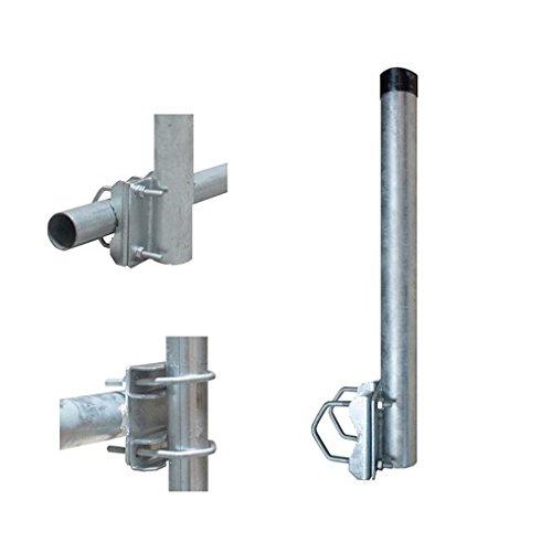 Balkonhalter / Mast für Geländer Stahl verzinkt 40cm mit 2 Schellen Balkon Halterung 48mm Mastverlängerung Geländerhalter für Sat Schüssel Spiegel LTE UKW Ringdipol Antenne