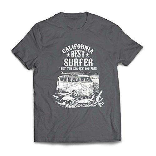 lepni.me Maglietta da Uomo California Migliore Surfista - Vacanze estive in Spiaggia, Stile Surf, Furgone, Viaggio Design (X-Large Grafite