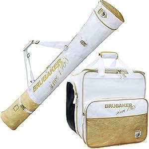 Brubaker Kombi Set St. Moritz – Skisack und Skischuhtasche für 1 Paar Ski + Stöcke + Schuhe + Helm – Weiß Gold – 170 cm
