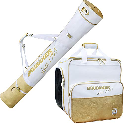 Brubaker Kombi Set St. Moritz - Skisack und Skischuhtasche für 1 Paar Ski + Stöcke + Schuhe + Helm - Weiß Gold - 170 cm -