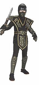 Disfraz de Ninja Dorado enmascarado para niño, infantil 8-10 años (Rubie