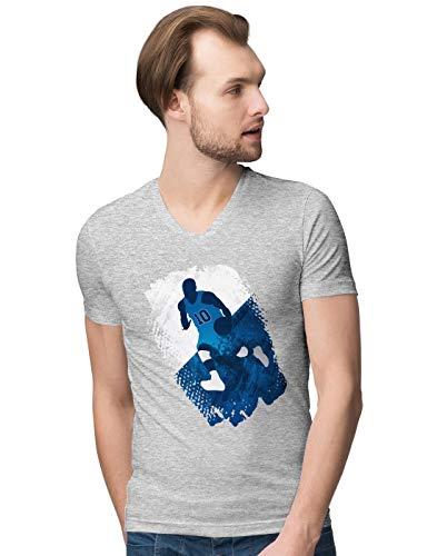 BLAK TEE Herren Grunge Basketball Player V-Neck T-Shirt L - Golden Ash Grey-t-shirt