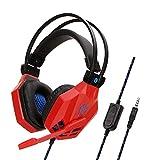 Komfortable Rauschunterdrückung Kristallklarheit 3,5 Mm, Immersiv Für Ps4-Gaming-Headset Mit Mikrofon Für Xbox One Pc-Laptop Mac-Red Kopfhörer