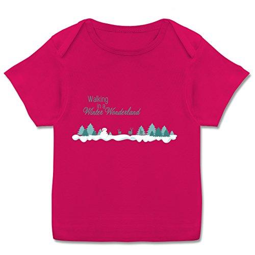 Kostüm Mädchen Winter Wonderland - Weihnachten Baby - Walking in a Winter Wonderland Schnee - 56-62 (2-3 Monate) - Fuchsia - E110B - Kurzarm Baby-Shirt für Jungen und Mädchen