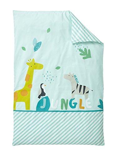 Vertbaudet Housse de Couette bébé Jungle Party Vert Clair imprimé 80X120