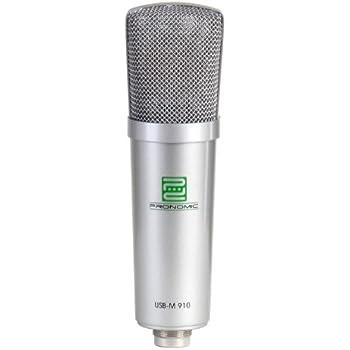 Pronomic USB-M 910 Podcast Kondensator Mikrofon für Studio-Aufnahmen inkl. Spinne (16mm Kapsel, Nierencharakteristik, 20Hz - 18KHz) silber