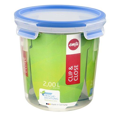 Emsa 508553 Runde Frischhaltedose mit Deckel, 2.0 Liter, Transparent/Blau, Clip & Close -