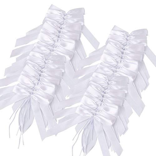 Yanoza 100 Autoschleifen Hochzeit Antennenschleifen Weiß für Hochzeit und Auto Dekoration, Florist Box Kit, Satin Nähen, Hamper Zubehör, Bouquet, Geschenk