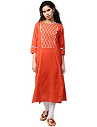 [Sponsored]Jaipur Kurti Women Solid Print Embroidered Button Detail Straight Fit Cotton Slub Kurta
