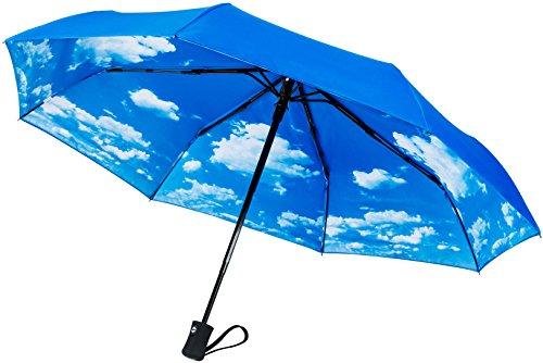 """60mph antivento Ombrelli di viaggio: garantita a vita ricambio programma """"chiusura automatica Auto Open Compact ombrelli non si rompe se la Inside Out-Un servizio clienti Supported prodotto, Blue-Sky Blue (nero) - TU-200"""