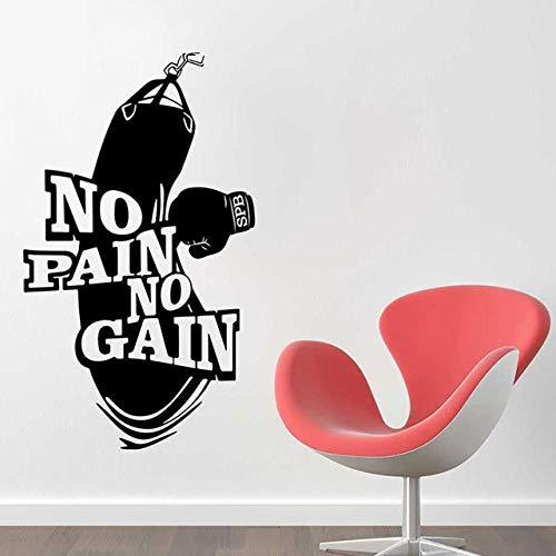 jiuyaomai Keine Schmerzen Kein Gewinn Vinyl Wandtattoo Dekoration Kunst Poster Workout Fitness Boxhandschuhe Boxsack Wandaufkleber Wandbild weiß 42x72 cm