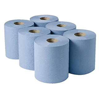 2WORK CBL373S Centrefeed Roll, 3-Ply, 135 m, Blue (Pack of 6)