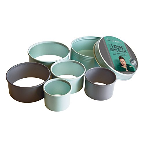 Jamie Oliver Bakeware Range Round Cookie Cutters, Stainless Steel/Harbour Blue, Set of 5, 5/6/7/8.5/9.5 cm