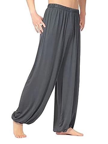 OCHENTA Homme Super Soft Modal Spandex Harem Yoga / Pilates Pantalons Gris foncé-2XL