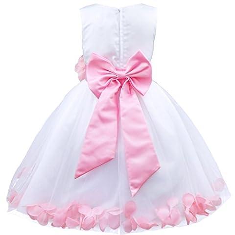 iEFiEL Girl Flower Petals Dress Formal Wedding Bridesmaid Party Christening Princess Dresses Pink 5 Years