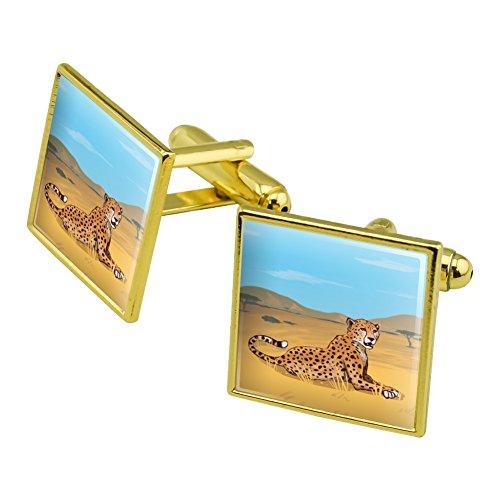 CHEETAH Afrika Savanne Manschettenknöpfe, quadratisch Set Gold Farbe (Cheetah Gold Wild)