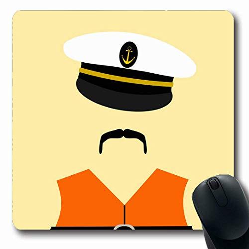 Luancrop Mauspads für Computer Grafik Marine Hut Seemann mit Schwimmweste Ertrinken Orange Admiral Anker Schwarz Bootskapitän Design rutschfeste, längliche Gaming-Mausunterlage