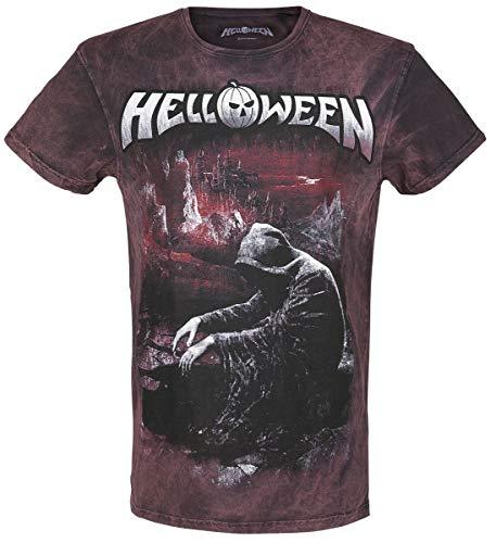Helloween Keeper Falls Camiseta Burdeos-Gris M