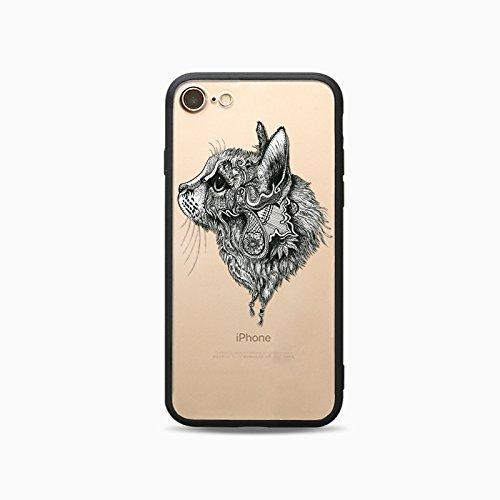 Coque iPhone 5 5s Housse étui-Case Transparent Liquid Crystal Les animaux en TPU Silicone Clair,Protection Ultra Mince Premium,Coque Prime pour iPhone 5 5s-Chats-style 19 8