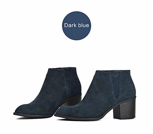ZEARO Damen Stiefeletten Frühling Herbst Einzigen Stiefel Ankle Boots Lederoptik Blau