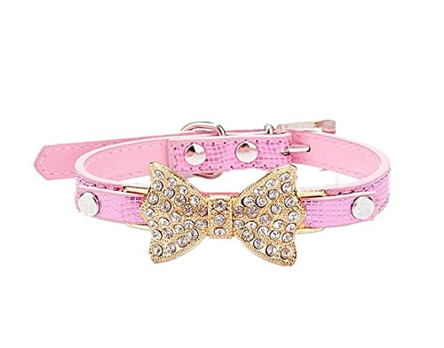 SSforiesun Hundehalsband mit Strasssteinen, Krokodil, für Kleine Hunde, Pink343, S