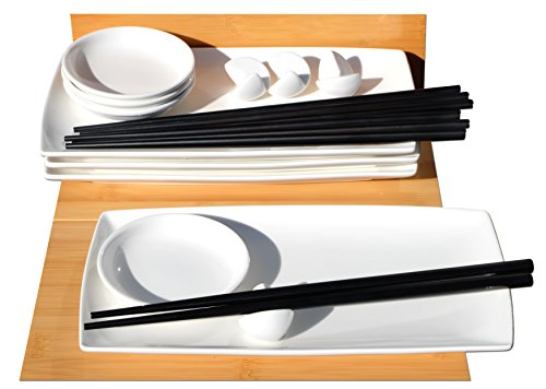 Set per sushi in stile giapponese, bianco, per 4