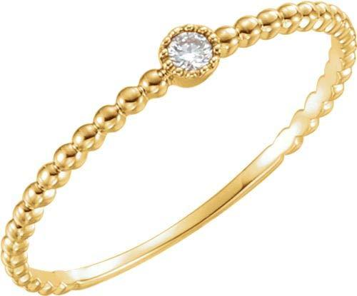 14kt Gelb 0,03ctw Diamanten Perle Design Ring Größe 7