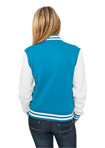 Urban Classics - Blouson - Teddy - Manches Longues Femme Multicolore - Turquoise/blanc