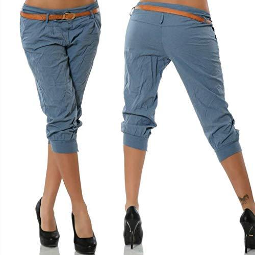 KIMODO® Damen Einfarbig elastische Taille Hose mit breites Bein, Baggy Sommer Boho Yoga Freizeithose Pants Große Größen - Schwarzen Höschen Womens Baggy Shorts