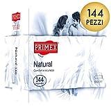 Primex Natural, preservativi classici in lattice di gomma naturale, pacco scorta da 144 pezzi