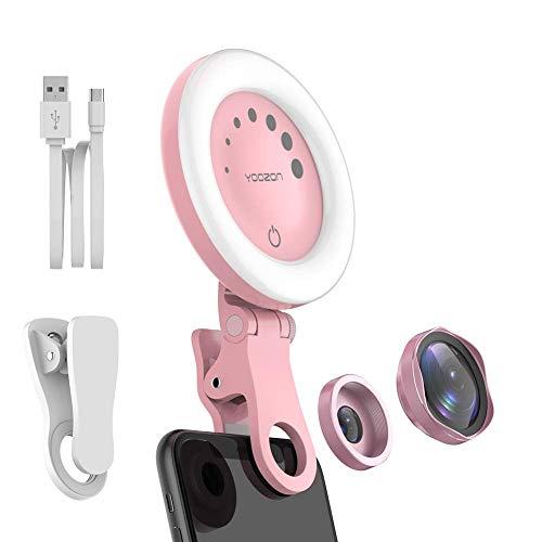 Yoozon Selfie Lumière Rechargeable, Selfie Ring Light avec 2 en 1 Kit de Caméra Objectif Téléphone, 0.6X Objectif Grand Angle et 15X Objectif Macro pour Smartphone/iPad/Perche Selfie,etc