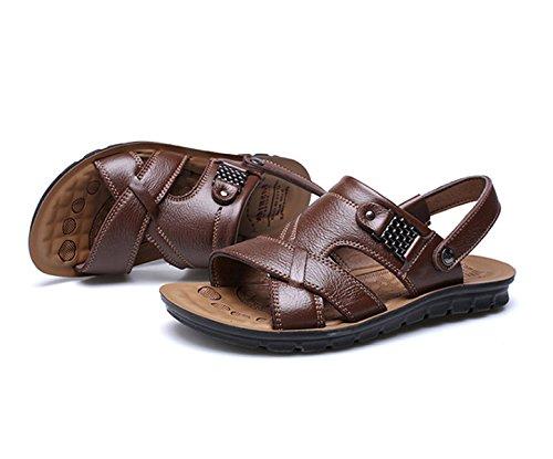Estate Uomo Sandali In Pelle Scarpe Da Spiaggia 2018 New Casual Padre Pantofole Grandi Dimensioni Scarpe Da Uomo Nero / Marrone / Giallo F