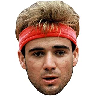 ANDRE AGASSI YOUNG 90'S MASK JB - Tennis Fancy Dress Cardboard Celebrity Party Stag Birthday Idea Fancy Dress Face mask