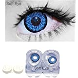 SOFT EYE Diamond Eye Monthly Drak Blue Color Contact Lenses 0 Power/powerless contact lens Multi Plus Solution With Lens Storage Box by T&R LENS.
