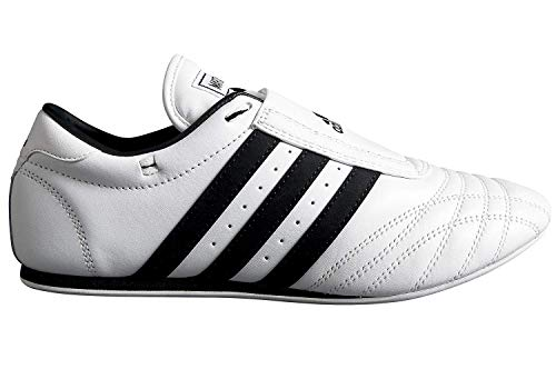 Adidas sm ii low cut arti marziali taekwondo, karate e scarpe kungfu, ragazzi adulti unisex ragazza donna, white w/black stripes, 16 eu