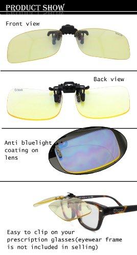 DUCO Computer Gamer Brille Clip On Flip-up Gläser Blaulicht Filter UV Sperrfilter Linderung Digitaler Augenbelastung mit Blendschutz 8012 - 5